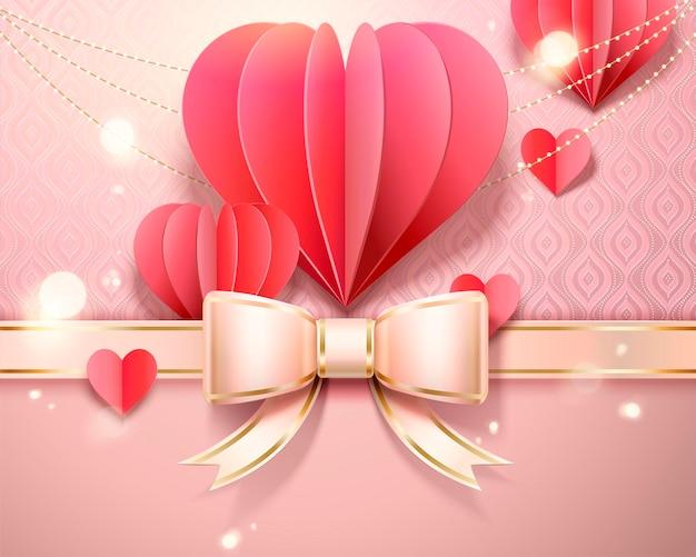 Modello di carta di san valentino con decorazioni a forma di cuore di carta, fiocco in nastro in stile 3d