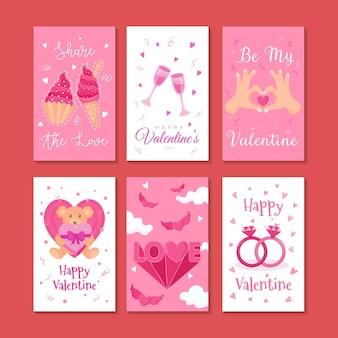 Insieme dell'illustrazione di vettore della carta di san valentino
