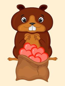Carta di san valentino con castoro. stile cartone animato. illustrazione vettoriale.