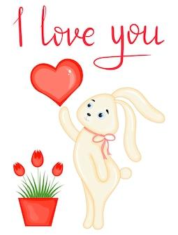 Carta di san valentino con coniglietto. stile cartone animato. illustrazione vettoriale.