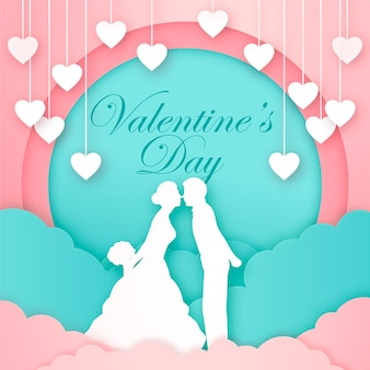 Carta di san valentino con coppia silhouette e cuori e nuvole papercut, sfondo romantico papercut