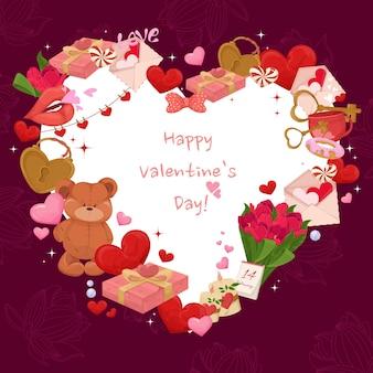 Carta di san valentino con elementi carini