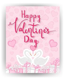 Biglietto di san valentino con simpatici cigni. stile cartone animato. illustrazione vettoriale.