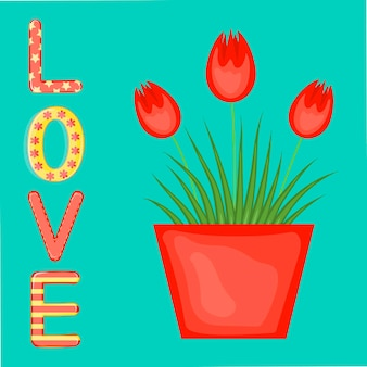Carta di san valentino con fiori. stile cartone animato. illustrazione vettoriale.