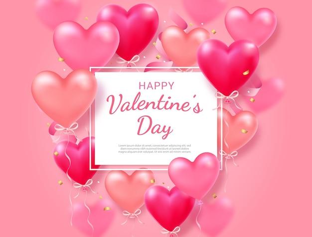 Carta di san valentino con sfondo cuore e nastro.