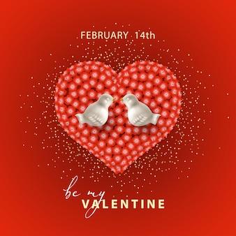 Biglietto di san valentino a forma di cuore formato da fiori rossi, uccelli e glitter
