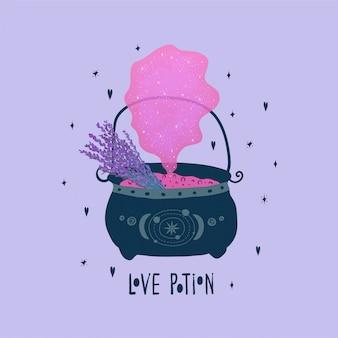 Carta di san valentino con bombetta da strega, pozione d'amore rosa, bouquet di lavanda e scritte in uno stile piatto su un lilla. illustrazione