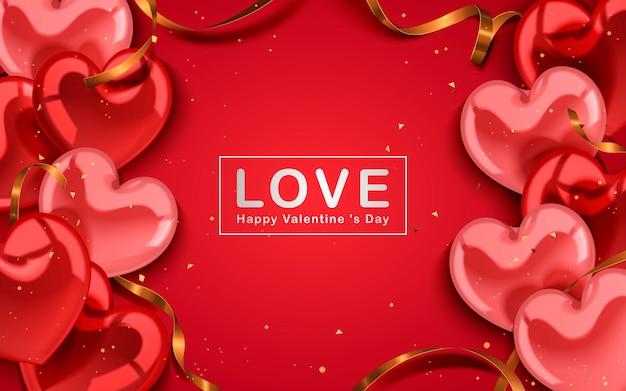 Concetto di san valentino, bellissimi palloncini a forma di cuore e stelle filanti dorate