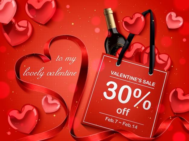 Concetto di san valentino, sacchetto di carta rosso con bottiglia di vino e decorazioni a forma di cuore