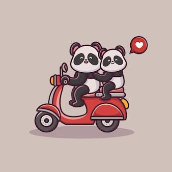 Coppia di innamorati panda di san valentino cavalca uno scooter