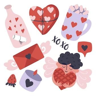Set di oggetti carini di san valentino