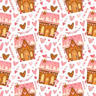 Modello senza cuciture sveglio di san valentino. modello di case di marzapane di san valentino. modello di dolci di san valentino.