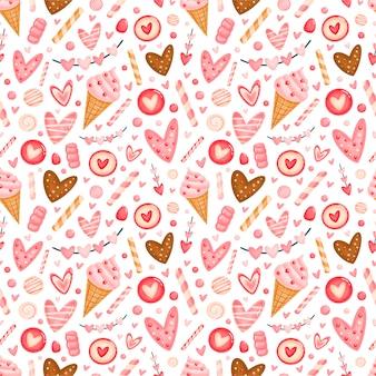 Modello senza cuciture sveglio di san valentino. modello di dolci di san valentino.