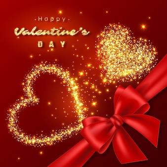Design di san valentino. cuori dorati di lusso astratti con luci incandescenti e fiocco di seta rossa. colore rosso
