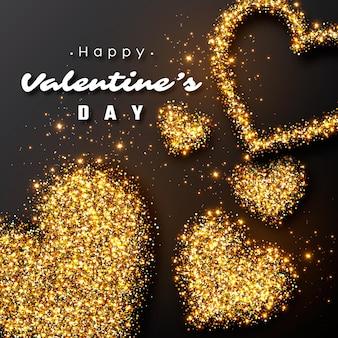 Design di san valentino. cuori dorati di lusso realistici e luci incandescenti.