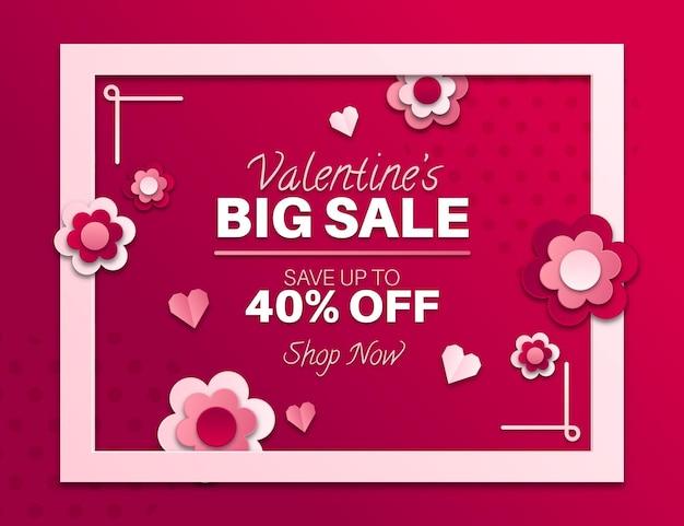 Banner di vendita sconto di san valentino con foto