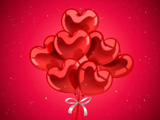 Elementi di san valentino, palloncini a forma di cuore per la celebrazione con particelle d'oro nell'illustrazione 3d