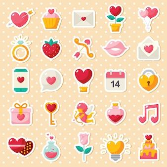 Set di icone di elementi di san valentino