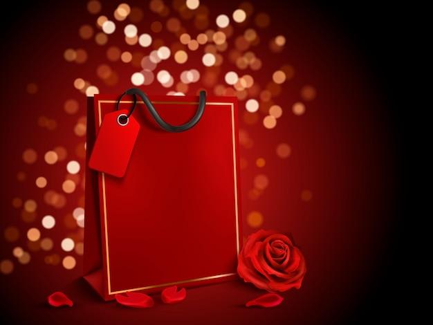 Elementi di san valentino, sacchetto di carta rosso con etichetta e rose