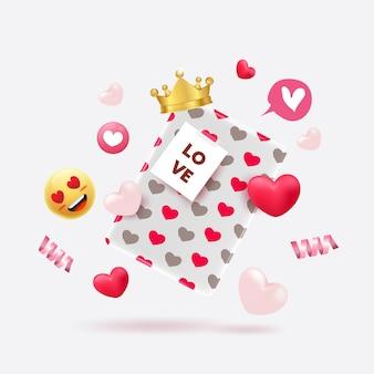 Blox regalo di san valentino con motivo a cuore carino ed elementi.