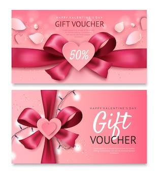Modello del buono regalo di san valentino. fiocco rosa brillante con un cuore.