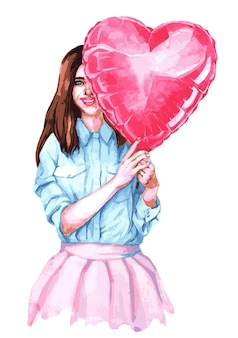 Ragazza di san valentino con palloncino a forma di cuore