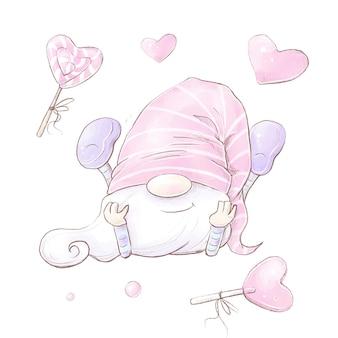 Set gnomo di san valentino. illustrazione dell'acquerello.