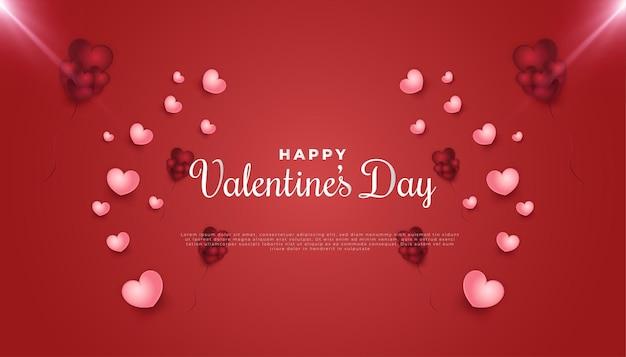 Banner di saluto di san valentino con cuori rosa 3d sparsi sul rosso