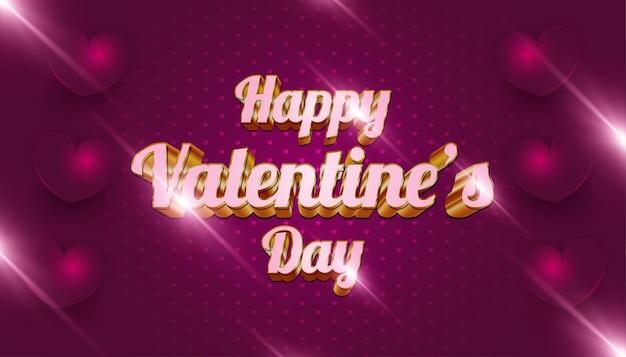 Banner di auguri di san valentino, con testo 3d rosa e oro, cuori sparsi e bagliori splendenti