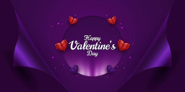 Banner di auguri di san valentino con sfondo di cuori realistici sparsi