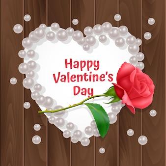 Biglietto di auguri di san valentino, un biglietto con una cornice a forma di cuore e una rosa realistica