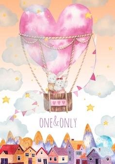 Biglietto di auguri di san valentino, simpatici conigli che volano in un palloncino a forma di cuore sopra la città
