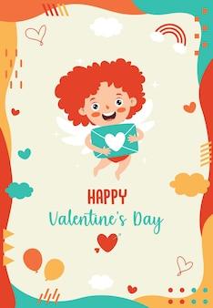 Disegno di cartolina d'auguri di san valentino con personaggio dei cartoni animati