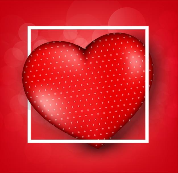 Modelli della cartolina d'auguri di san valentino con realistico di bello cuore rosso su fondo rosso