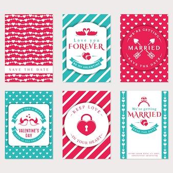 Biglietto di auguri di san valentino, inviti di nozze. amore e temi romantici.