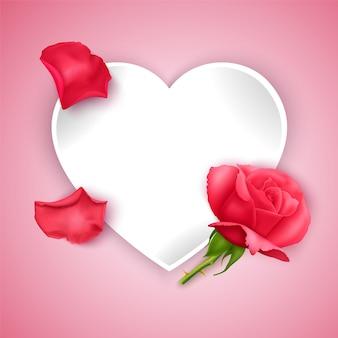 Biglietto di auguri di san valentino con cuore di carta tagliata e posto per il testo