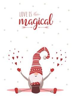 Cartolina d'auguri di san valentino con carino piccolo gnomo con cappello rosso