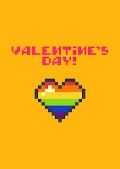 Cartolina d'auguri di san valentino con cuore colorato pixel carino