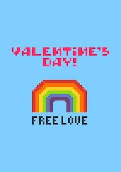 Cartolina d'auguri di san valentino con arcobaleno colorato pixel carino
