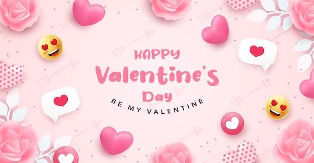 Biglietto di auguri di san valentino con cuori e scritte