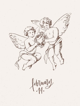 Cartolina d'auguri di san valentino con coppia di angeli che trasportano ghirlanda floreale