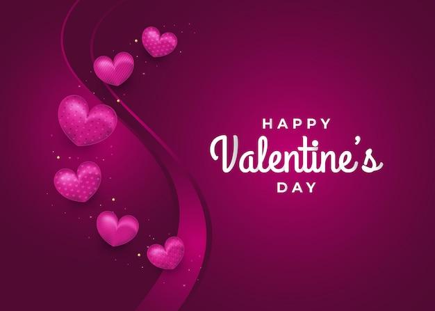 Biglietto di auguri di san valentino con cuori realistici e scintillanti