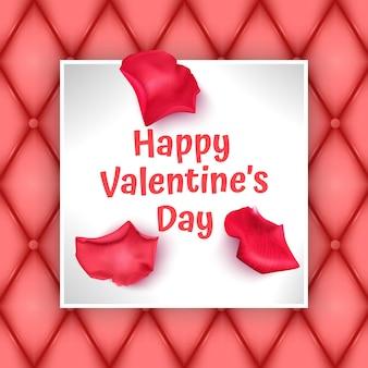 Biglietto di auguri di san valentino con petali di rosa