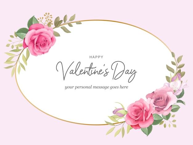 Biglietto di auguri di san valentino con cornice di rose