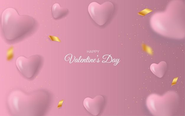 Biglietti di auguri di san valentino e palloncini d'amore su uno sfondo rosa