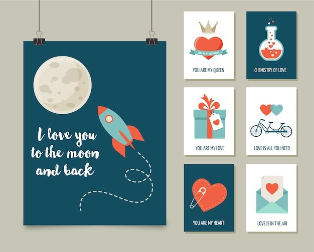 Biglietti di auguri di san valentino, collezione moderna