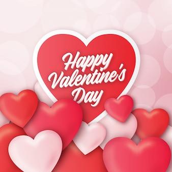 Disegno di auguri di san valentino con cuori 3d realistici