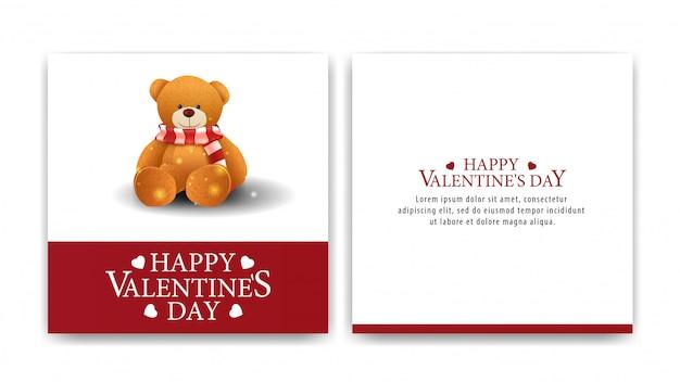 San valentino saluto carta bianca con orsacchiotto