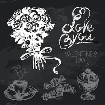 Insieme di disegno della lavagna disegnato a mano di san valentino. texture gesso nero