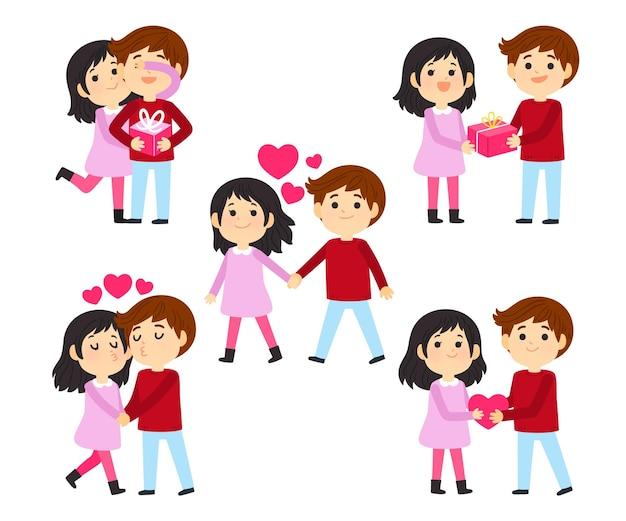 Insieme delle coppie disegnate a mano di san valentino